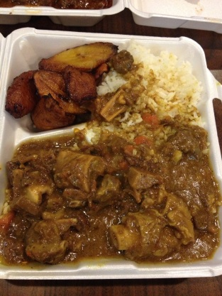 Curry Goat, White Rice, Plantain