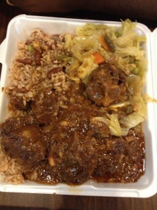 Oxtail, Rice and Peas, Steamed Cabbage